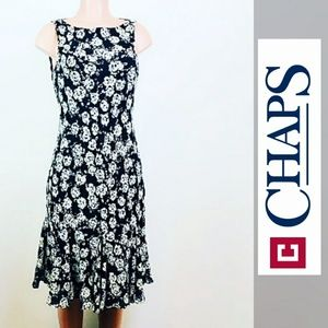 Chaps sleeveless floral dress sz 12 black and gray